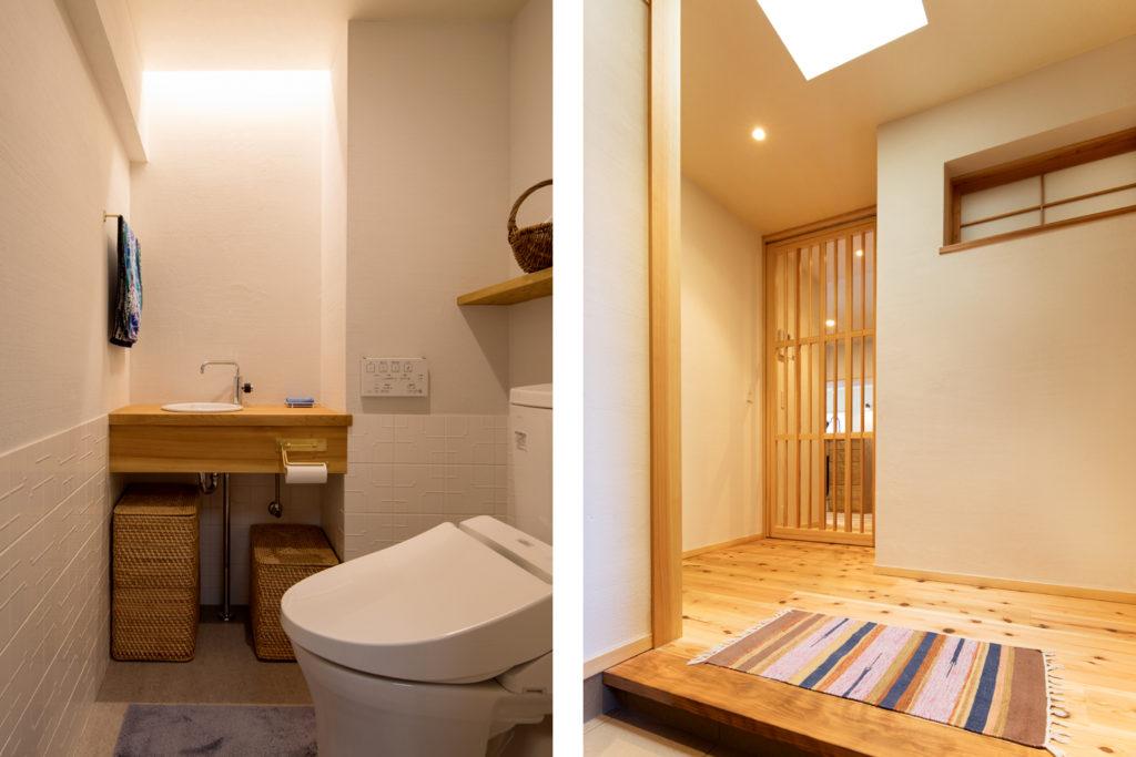 初台の家のトイレと玄関